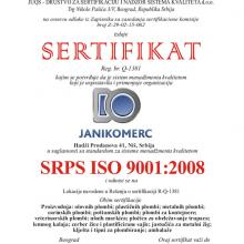 Janikomerc doo Sertifikat